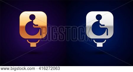 Gold And Silver Disabled Wheelchair Icon Isolated On Black Background. Disabled Handicap Sign. Vecto