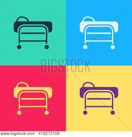 Pop Art Stretcher Icon Isolated On Color Background. Patient Hospital Medical Stretcher. Vector
