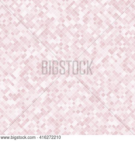 Vector Pixel Background Texture. Abstract Seamless Pattern With Small Colorful Squares, Diamonds, Re