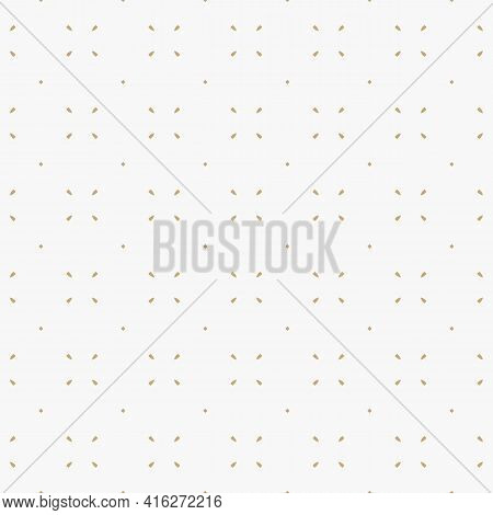 Golden Minimalist Vector Seamless Pattern. Simple Minimal Geometric Texture. Abstract Gold And White
