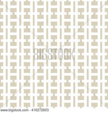 Vector Geometric Seamless Pattern. Simple Golden Abstract Texture With Grid, Net, Grill, Lattice, Li