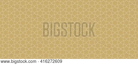 Abstract Geometric Seamless Pattern In Traditional Arabian Style. Golden Ornament With Thin Lines, O