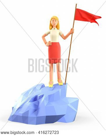 3d Illustration Of Beautiful Blonde Woman Hoisting A Red Flag On The Top Mountain. Cute Cartoon Happ