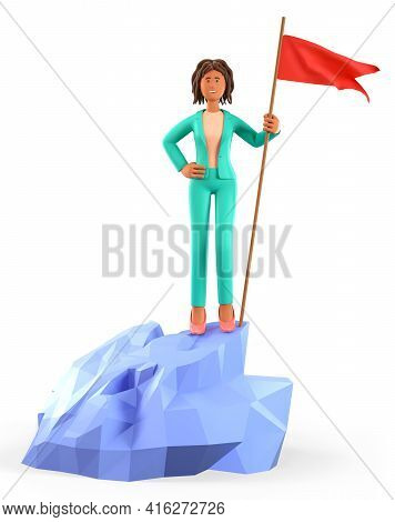 3d Illustration Of African American Woman Hoisting A Red Flag On The Top Mountain. Cute Cartoon Happ