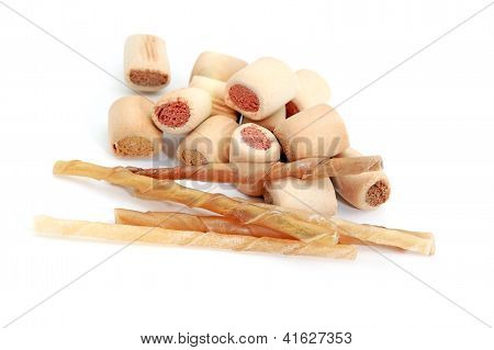 Snacks And Chews For Dogs On White