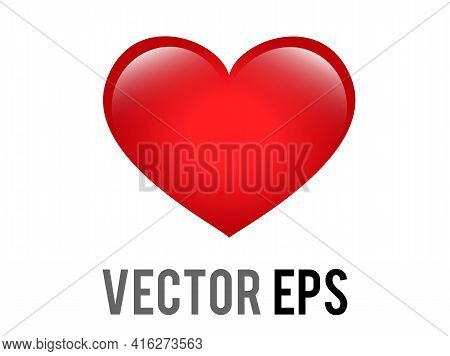 The Isolated Vector Classic Love Red Glossy Heart Icon, Used For Expressions Of Love Passion And Rom