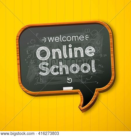 Online School. Back To School E-learning. Template For Website And Mobile App Development. Doodle St
