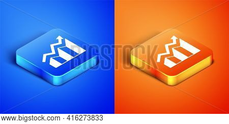 Isometric Financial Growth Increase Icon Isolated On Blue And Orange Background. Increasing Revenue.