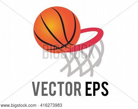 The Isolated Vector Classic Gradient Orange Basketbal Game Ball Icon With Red Ring And Net