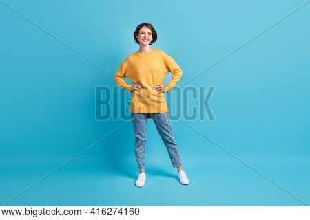Full Length Body Size Photo Of Girl With Bob Hairstyle Wearing Casual Clothes Smiling Isolated On Vi