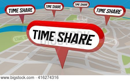 Time Share Map Property Locations Vacation Shared Ownership Homes 3d Illustration