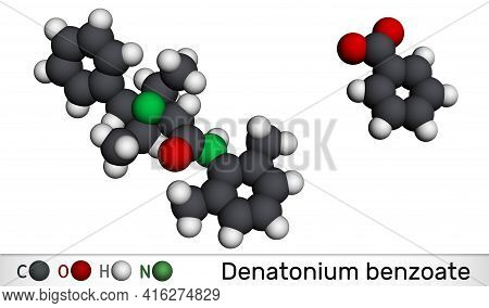 Denatonium Benzoate Molecule. It Has The Most Bitter Taste Of Any Compound Known To Science. Molecul