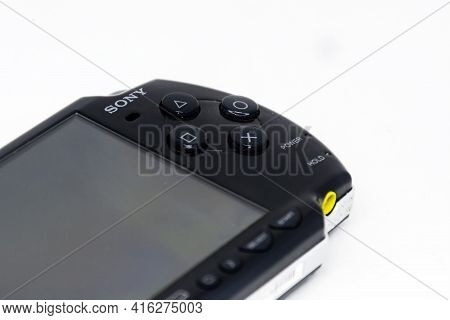Rome, Italy, April 9th 2021: Side View Of A Sony Playstation Portable (psp). Psp Is A Handheld Game