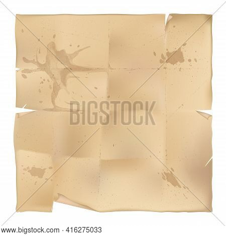 A Sheet Of Old Paper With Bent And Torn Edges And With Traces Bend, , With Old Blotches. Vector Illu