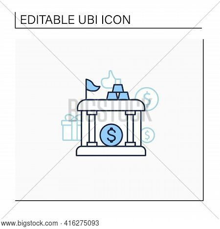 Sovereign Wealth Funds Line Icon. Investment Fund Place. Tax Storage.universal Basic Income Concept.