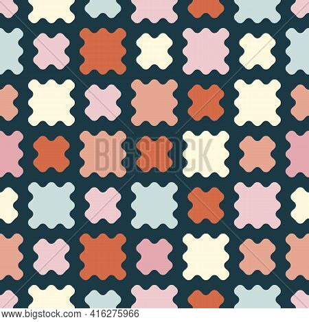 Vector Abstract Geometric Seamless Pattern. Simple Texture With Colorful Organic Shapes, Curved Mesh