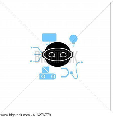 Robot Glyph Icon. Smart Production Robot. Robotizing. Modern Technologies. Future. Available Service