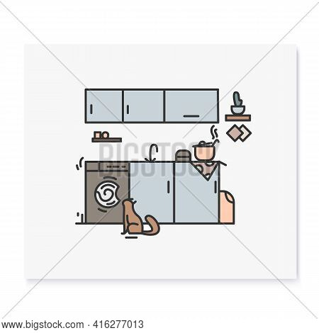 Kitchen Color Icon.pictogram Of Kitchen Room With Countertop Surface For Food Cooking, Sink And Cook