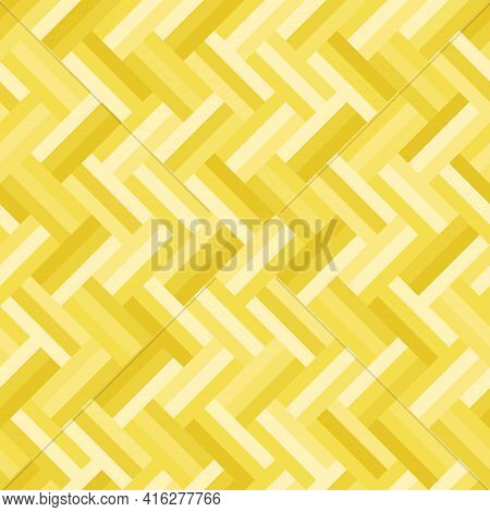 Yellow Rectangle Pattern Three Layers Arranged In A Zigzag Seamless Background. Textured Design For