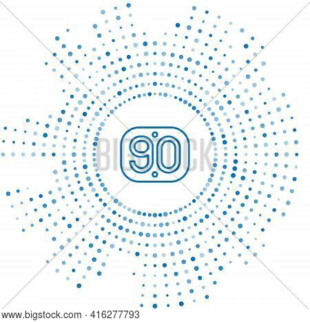 Blue Line 90s Retro Icon Isolated On White Background. Nineties Poster. Abstract Circle Random Dots.