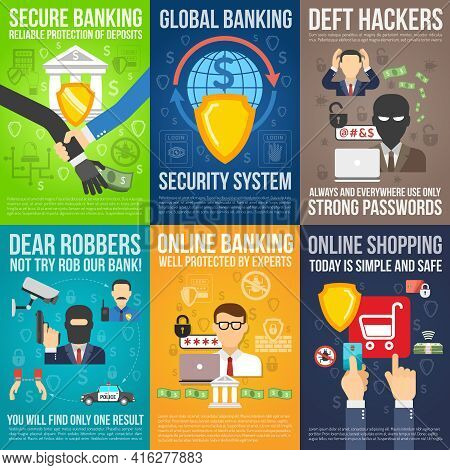 Banking Security Deposit Assurance Guaranty Mini Poster Set Isolated Vector Illustration