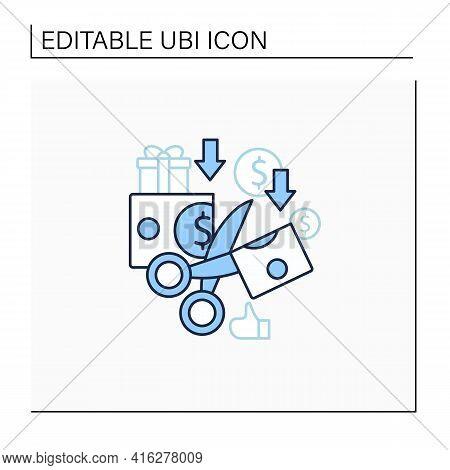 Less Spending Line Icon. Reasonable Money Use. Mindful Spending.scissors Cut Money.universal Basic I
