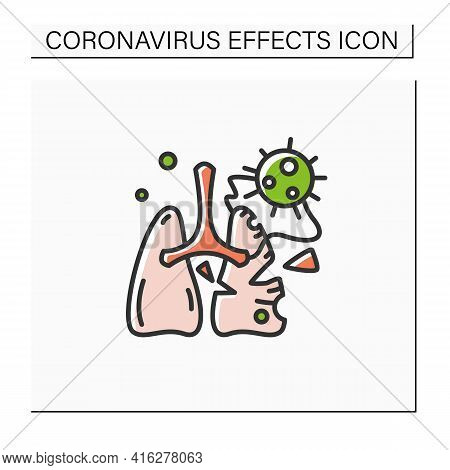 Lung Damage Color Icon. Covid Molecule Attacking Lungs. Concept Of Corona Virus Effects, Acute Respi