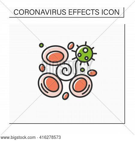 Blood Clotting Color Icon. Covid Disease Caused Acute Brain Damage. Concept Of Corona Virus Neurolog