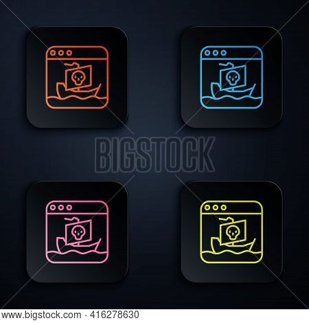 Color Neon Line Internet Piracy Icon Isolated On Black Background. Online Piracy. Cyberspace Crime W