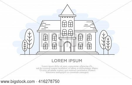 Vector Illustration Of A Building Exterior With Outline Style. Suitable For Design Elements Of Schoo
