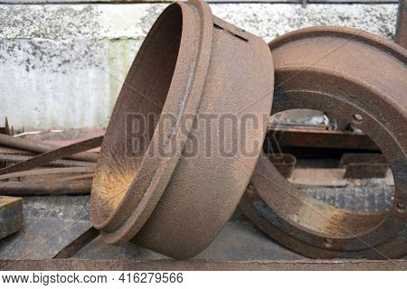 The Rusty Scrap Was Piled Up And Prepared For Delivery To The Collection Point For Further Processin