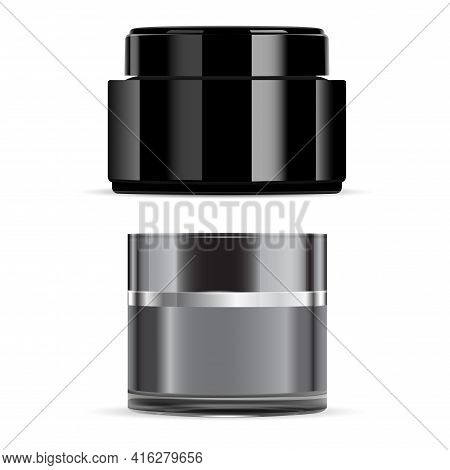 Black Cream Jar, Gloss Cosmetic Face Creme Package. Face Creme Product Container. Glass Jar Mockup,