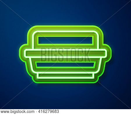Glowing Neon Line Butter In A Butter Dish Icon Isolated On Blue Background. Butter Brick On Plate. M