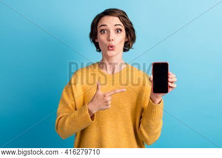 Photo Of Young Shocked Cool Bob Hairstyle Lady Point Telephone Wear Yellow Sweater Isolated On Blue