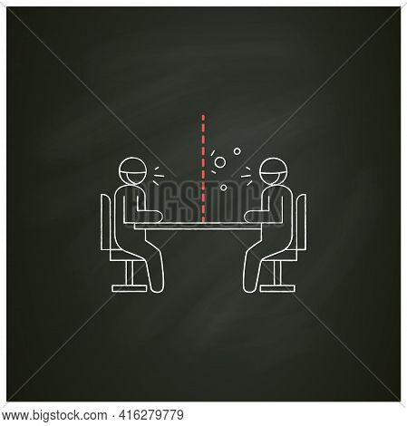 Glass Barrier Chalk Icon.people Sitting, Talking Trough Safety Screen.concept Of Covid Preventive Me