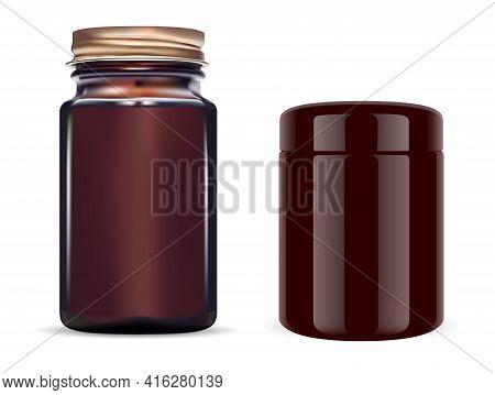 Amber Glass Bottle. Brown Cosmetic Jar. Supplement Pill Packaging, 3d Blank Design. Powder Flask Tem