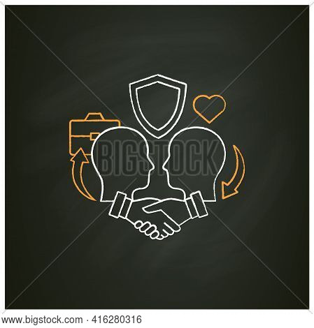 Building Trust Chalk Icon. Trusting Relationships. Friendly Atmosphere. Successfully Handles, Resolv