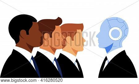 Businessmen In Suits And Artificial Intelligence Manager. Young Men In Black Suits And Robot. The Co