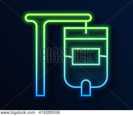 Glowing Neon Line Iv Bag Icon Isolated On Blue Background. Blood Bag. Donate Blood Concept. The Conc
