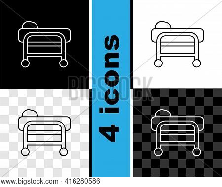 Set Line Stretcher Icon Isolated On Black And White, Transparent Background. Patient Hospital Medica