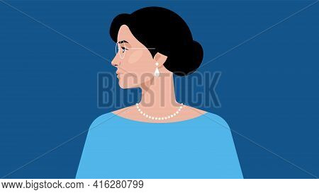 Beautiful Woman In Blue Clothes On A Blue Background. Brunette. The Girl Is Looking To The Left. Vec