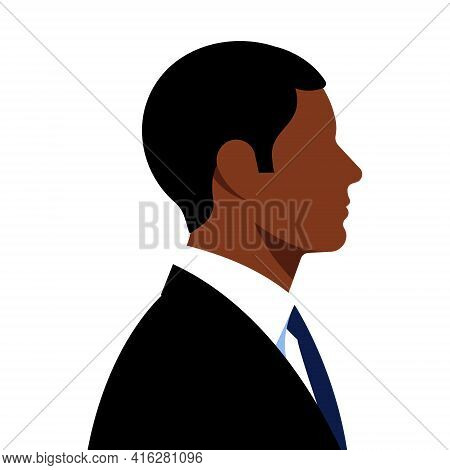 Businessman In Suits. One Young Black Man In Elegant Black Suits. The Concept Of Business, Stock Mar