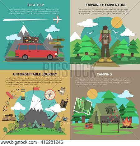 Best Trips And Camping For Unforgettable Journey 4 Flat Square Icons Composition Banner Abstract Iso