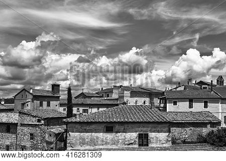 Roofs Of Historic Buildings In The City Of Magliano In Toscana, Italy, Monochrome