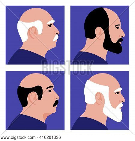 Old Men. Portrait Of Different Elder Men - Bald, With A Beard, Gray Hair, Mustache. Four Different O