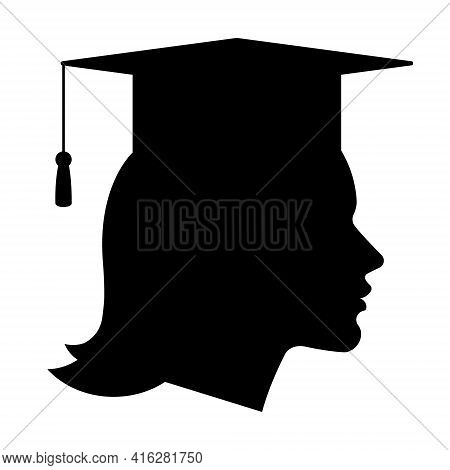 Graduate Student - Silhouette Of Woman In Graduation Cap. The Concept Of Graduating From University,