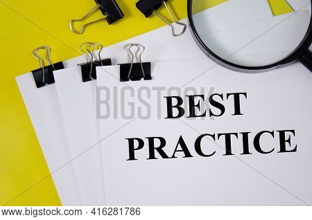 Best Practice Word Written On White Piece Of Paper And Yellow Background. Word