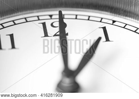 Clock Hand Pointing One O'clock On White Clock Face Of Twin Bell Classic Alarm Clock