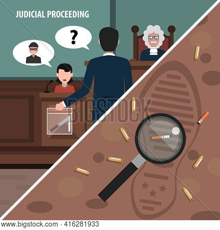 Judgment Services And Law Proceedings Corners Set Isolated Vector Illustration