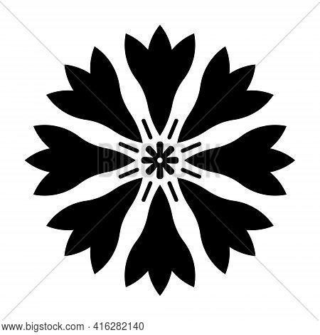 Abstract Cornflower Shape. Black Cornflower Flower Print. Black Flower With Center And Petals Top Vi